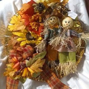 Scarecrow couple fall wreath
